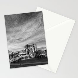 Caerphilly Castle Panorama Monochrome Stationery Cards