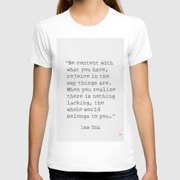 Lao Tzu Be content T-shirt