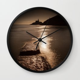 Mumbles lighthouse sunrise Wall Clock