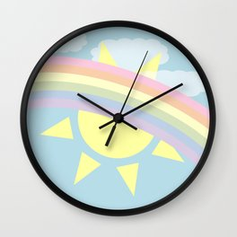 Pastel Rainbow Wall Clock