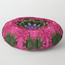 Hot Pink Gerbera And Cool Blue Viola Kaleidoscope Floor Pillow
