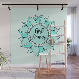 Girl Power Turquoise Aqua Mandala Wall Mural