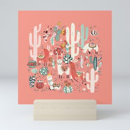 Lama in cactus jungles Mini Art Print