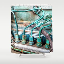 FoMoCo Generator Motor - Teal Industrial Art Photo Shower Curtain
