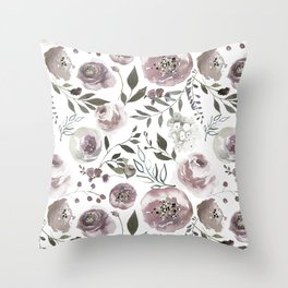 dusty rose floral watercolor Throw Pillow