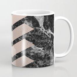 Black marble & rose gold chevrons Coffee Mug