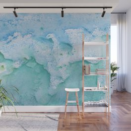 Touching Soft Turquoise Teal Blue Watercolor Abstract #1 #painting #decor #art #society6 Wall Mural