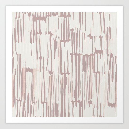 Simply Bamboo Brushstroke Lunar Gray on Clay Pink Art Print