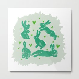 Bunny love - Basil edition Metal Print