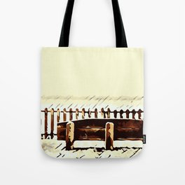 wooden bench and wooden fence Tote Bag