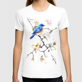Bluebird and Dogwood, bird and flowers spring colors spring bird songbird design T-shirt