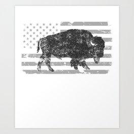 Charcoal Buffalo Distressed Gray Flag Art Print