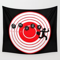 chuck Wall Tapestries featuring Chuck Ninja man target board 2 by Jamie Fontaine