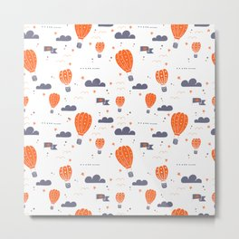 Planes & Hot Air Ballons Metal Print