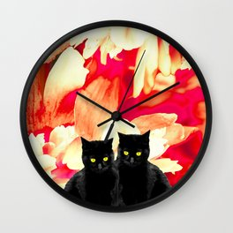 Two Black Cats with Floral Pattern Background #decor #society6 #buyart Wall Clock