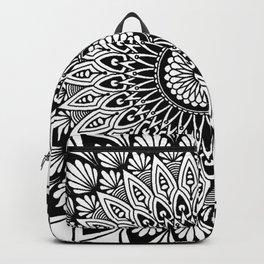 Sacred Lotus Black and White Mandala - LaurensColour Backpack