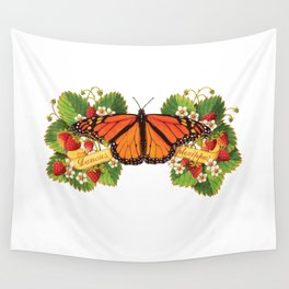 Monarch Butterfly with Strawberries Illustration Wall Tapestry