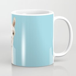 Cute alpaca portrait on blue sky illustration Coffee Mug