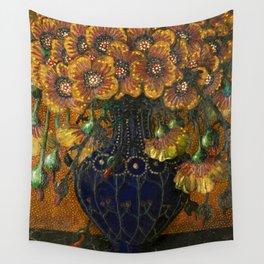 Classical Masterpiece 1916 Flowers in Vase 'Blumenstilleben' Carl Strathmann Wall Tapestry