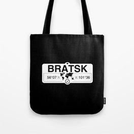 Bratsk Irkutsk Oblast with World Map GPS Coordinates Tote Bag