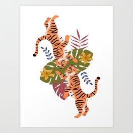 Tropical Tiger Twins Art Print