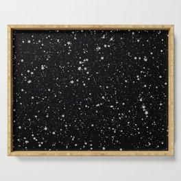 Glitter Stars2 - Silver Black Serving Tray