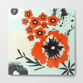 Asian Floral Modernized Metal Print