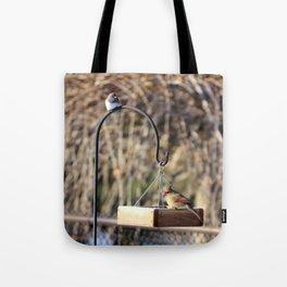 Birds on a Birdfeeder Tote Bag