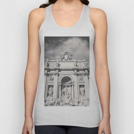Trevi Fountain, black & white photography of Rome, fine art architecture, italian architectural love Unisex Tank Top