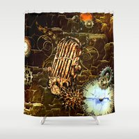 steampunk Shower Curtains featuring Steampunk, micropphone by nicky2342