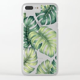 Monstera botanical leaves illustration pattern on white Clear iPhone Case