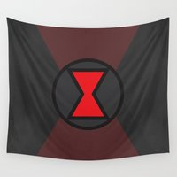 black widow Wall Tapestries featuring Black Widow by Some_Designs