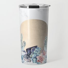 Desert Sun + Gemstones Gold Marble Travel Mug