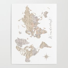 Wanderlust watercolor world map with compass rose Poster
