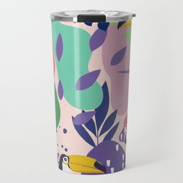 Tropical Jungle With Flamingos And Toucans Memphis Style Travel Mug