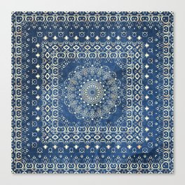 Old Bookshop Magic Mandala in Blue Canvas Print