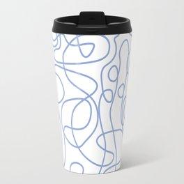 Doodle Line Art | Periwinkle Lines on White Background Travel Mug