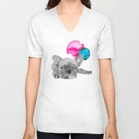 french bulldog V-neck T-shirts featuring French Bulldog  by Olivia James
