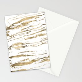Gold abstract marbleized paint Stationery Cards