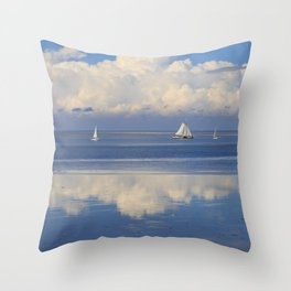 Sky And Sea With Sailboats In Holland Throw Pillow