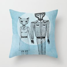 Fox and Wolf Throw Pillow