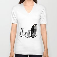 penguins V-neck T-shirts featuring Penguins by Sophie H.