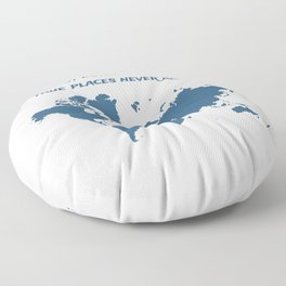 Travel Map with a Quote Floor Pillow
