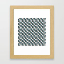 Rustic Gray Turquoise Green Beige Patchwork Framed Art Print