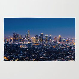 Los Angeles, California, I love LA Downtown Skyline, Golden lights, USA Sunset Blvd, Palms, Cali Map Rug
