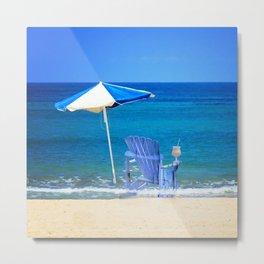 Blue Rocking Chair Metal Print
