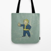 warcraft Tote Bags featuring Vault Boy - fallout 4 by janeemanoo