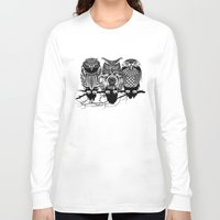 threadless Long Sleeve T-shirts featuring Owls of the Nile by Rachel Caldwell