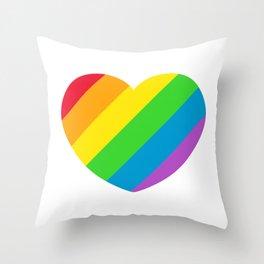 Rainbow LGBT Pride Heart Throw Pillow