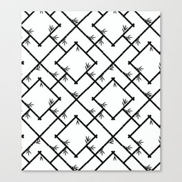 Bamboo Chinoiserie Lattice in White + Black Canvas Print